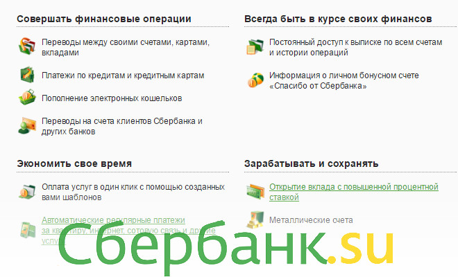 Сбербанк онлайн операции