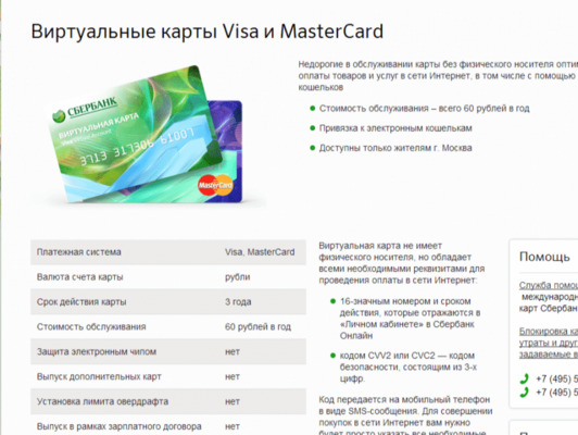 виртуальная банковская карта сбербанка